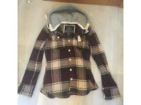 Superdry checked hooded jacket size small