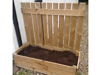Large wooden planter with fencing back - 2 available