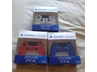LOOK BRAND NEW SEALED LATEST VERSION 2 GENUINE SONY PS4 WIRELESS CONTROLLERS IN VARIOUS COLOURS