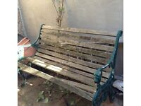 Slatted teak and metal bench