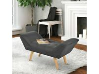 HOMCOM Chaise lounge Ottoman Bench Deluxe Arm Linen Fabric Grey Footstool