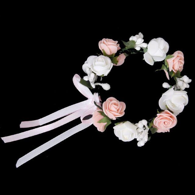 White and Pink Double Layer Rose Flower Garland Bridal Wedding Bracelet Wri K4I6