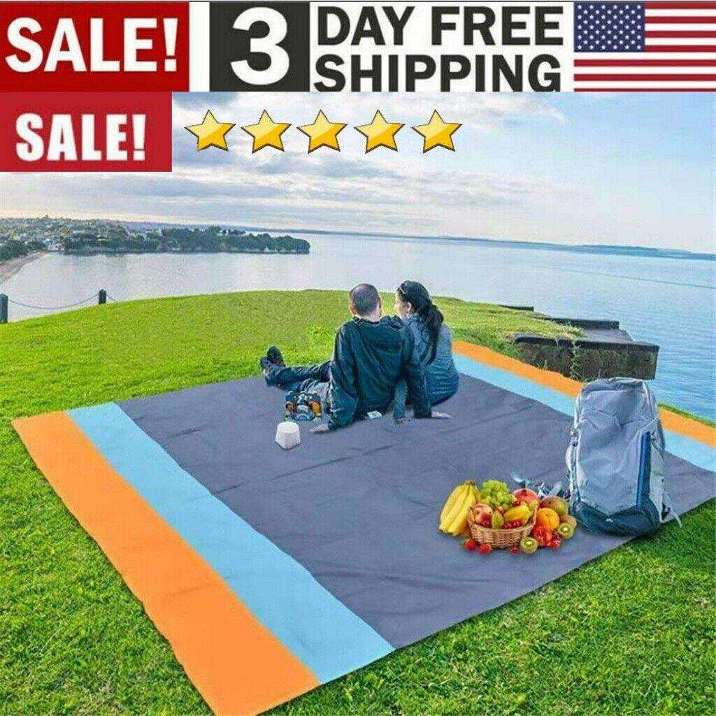 "83""x 79"" Sandfree Beach Blanket,  Waterproof Beach Mat Outdo"