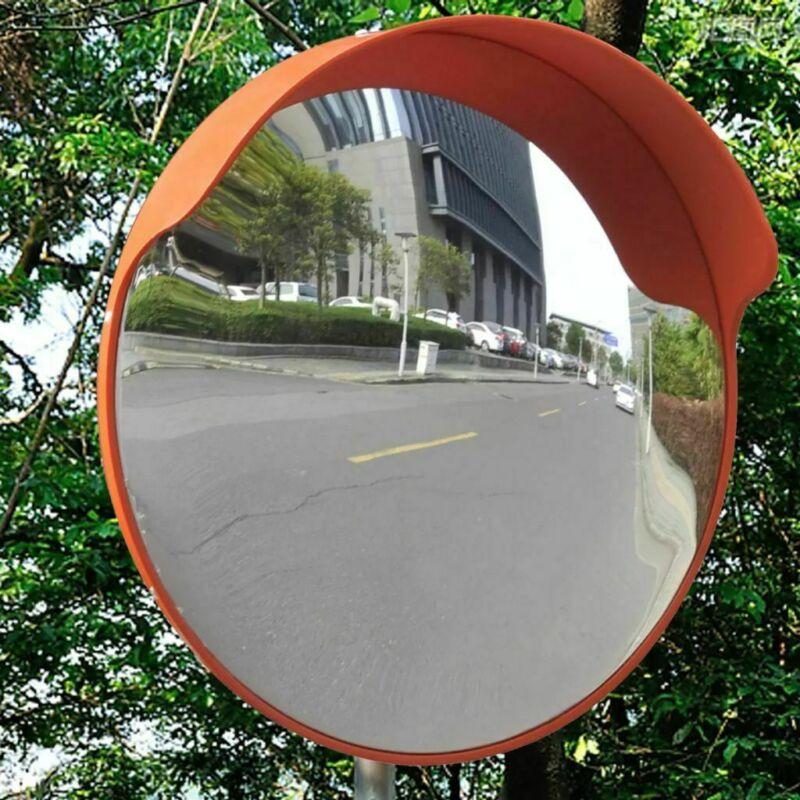 "Convex Traffic Mirror PC Plastic Orange Outdoor Driveway Safety 18""/24"""