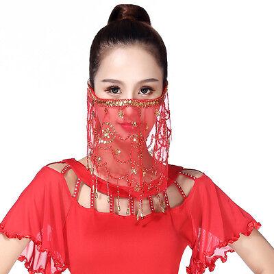 Damen Bauchtanz Kostüm Gesicht Schleier Indian Dancewear Mesh - Indianer Kostüm Tanzen