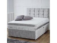 BRAND NEW DIVAN CRUSHED VELVET BED WITH HEADBOARD