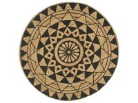 Handmade Rug Jute with Black Print 90 cm-133698