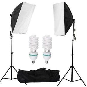 Continuous Lighting Kit / Photo Studio Softbox Set (1 Pack of 2) with 115w Light Bulb