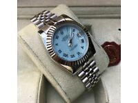 new boxed all silver blue pearl face ladies rolex datejust whatsapp to see all available