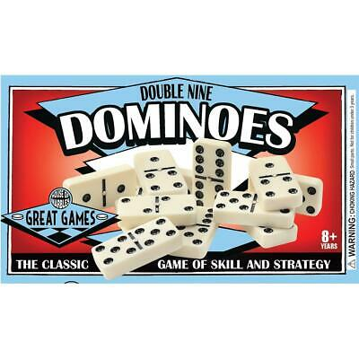 Classic Double Nine Dominoes with Brass Spinners - League Quality 8 Years +