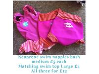Neoprene swim nappy, vest, wet suits. Prices and sizes on pictures