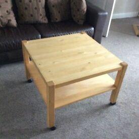 Large Ikea Birch coffee table with undershelf