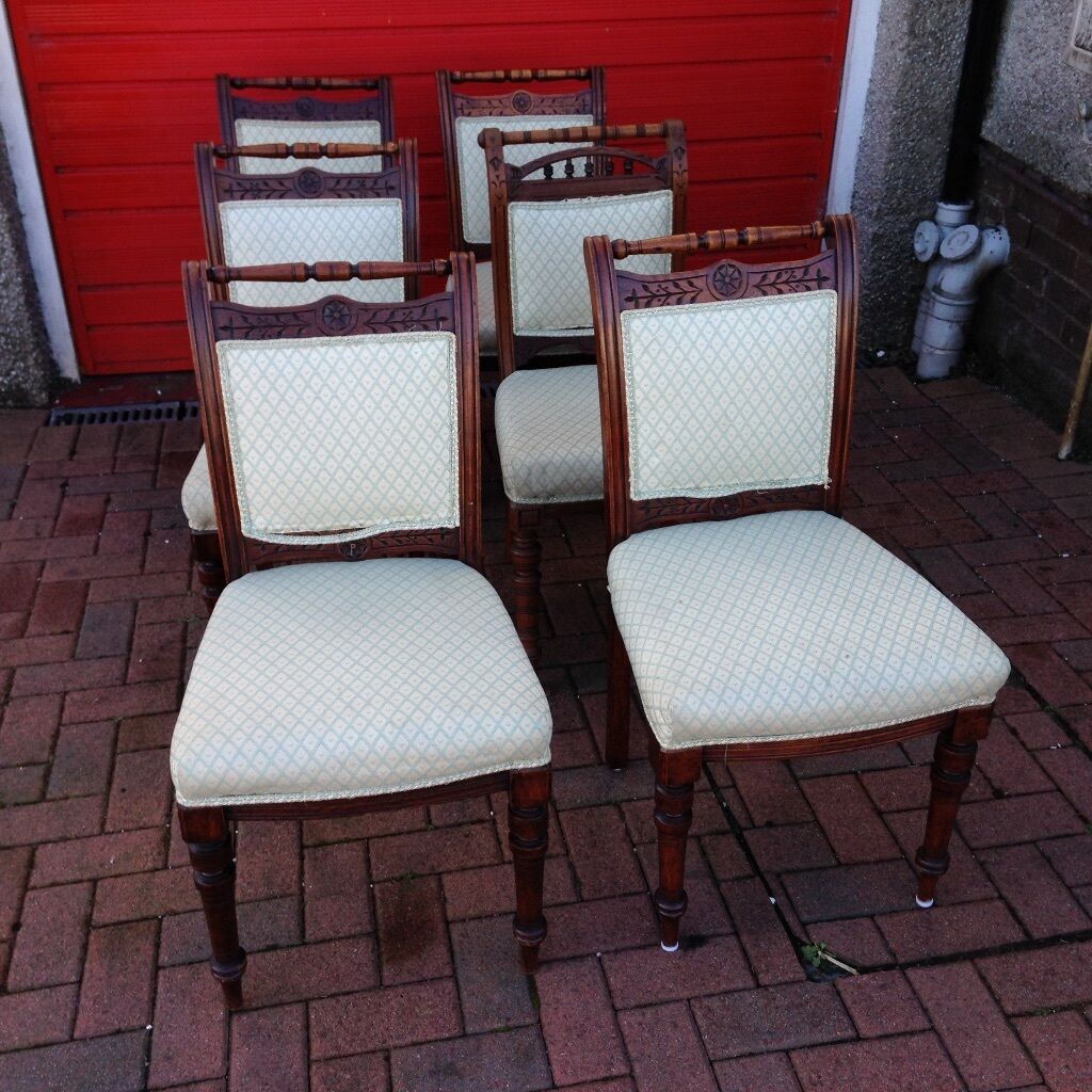 Antique victorian dining chairs - 6 Antique Mahogany Dining Chairs Lovely Rose Carving Victorian Poss Georgian Beautifully Turned Legs