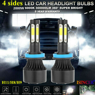 4-Side H11 LED Headlight H8 H9 Kits 2800W 380000LM Bulbs Power 6000K White (Best H1 Led Bulb)