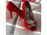 SIZE 6 RED PARTY SHOES WORN ONCE
