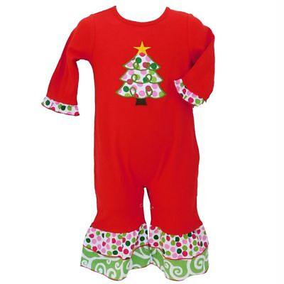 AnnLoren Baby Girls Red & White Christmas Tree Romper Outfit Size 24 Months ()