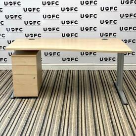 Senator Wave Jigsaw Desk with Pedestal