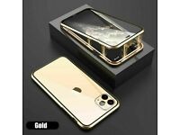 Case for iPhone 11 Pro Max Magnetic Glass Cover (Gold)