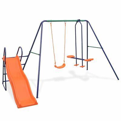 vidaXL Kinderschaukel mit Rutsche 3 Sitzen Gartenschaukel Schaukelgestell