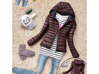 BNWT NEW Women Warm BROWNThin Slim Hooded Coat Jacket UK 10 M