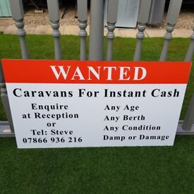 TOURING CARAVANS URGENTLY REQUIRED FOR INSTANT PAYMENT AND SAME DAY COLLECTION SERVICE