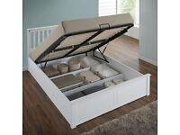 GET YOUR ORDER NOW - BRAND NEW Oak Or White Wooden Ottoman Storage Bed and mattress 4FT6 double