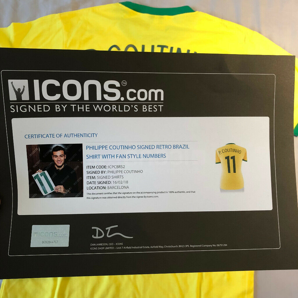 1ec65b1887c79 Brazil Signed Shirt By Philippe Coutinho + Certificate of Authenticity | in  Chelsea, London | Gumtree