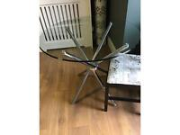 Glass Top Dining Table Chrome legs . £60