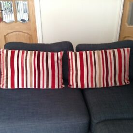 Stripped velvet feel cushions for sale - red, beige, brown & cream