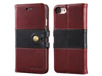 Lensun Genuine Leather Wallet Flip Case for iPhone 8 or 7 (with 2 FREE Screen Protectors)