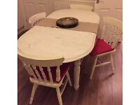 Shabby Chic Oak country Table & Chairs . Collection Only by Friday 26th Aug.