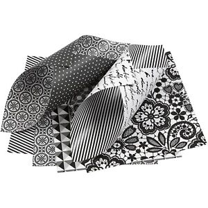 50 Black White Paper Double Sided Origami Spots Stripes Craft Making 10 x 10 cm