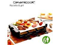 Ceramicook Raclette 6 person Cooker/ Griddle/Grill,Portable, Home, Caravan BNIB