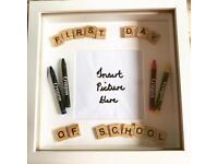 """Scrabble """"First Day of School"""" Picture Frame"""