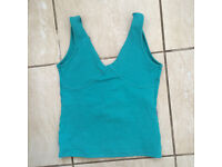 celadon blue gym top, Made in Brazil size S/M
