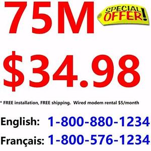 Free Install + Free Shipping , 75M Unlimited internet only $34.98/month, or 100M $39.98/month,no contract 1-800-880-1234