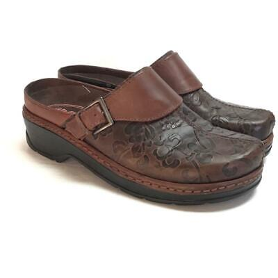 NEW Klogs Austin Women 11 M Open Back Clogs Brown Flower Tooled Leather