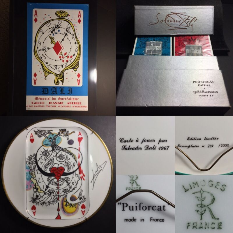 1967+Original+DALI+Art+Exhibition+Litho+Poster+%E2%80%A2+Playing+Cards+%E2%80%A2+Limoges+Plates