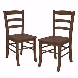Winsome Wood Ladder Back Chair, Rta, Antique Walnut, Set of 2 - Brand New