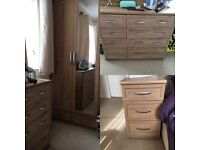 Wardrobe, chest of drawers and bedside draws x2