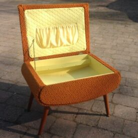 Vintage 1950's Sewing Box/Stool Mustard Yellow