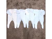 Baby boys 0-3 months sleepsuits babygrow bundle