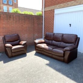 Very Comfy 3 Seater+1 Armchair Sofa Set- Brown Leather ( Free Local Delivery )