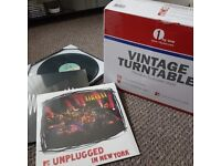 Brand New Record Player with 2 Sealed Vinyl Albums and EP Display Frame