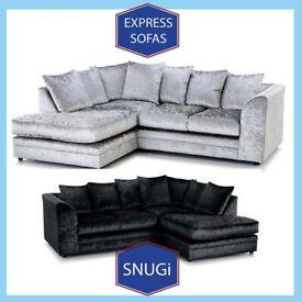 New 2 Seater £169 3S £195 3+2 £295 Corner Sofa £295-Crushed Velvet Jumbo Cord Brand ⬮N6
