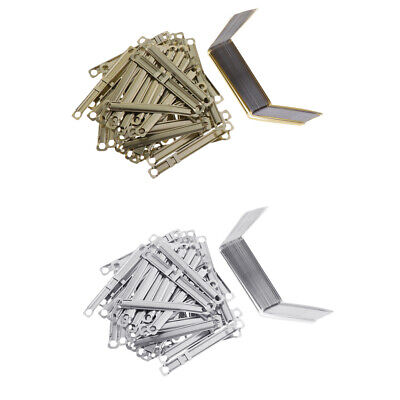 50x Paper Fastener Metal Prong File Clips Base Document Filing Clips Office
