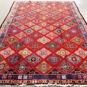Bakhtiari Semi-Antique Persian Rug , Handmade Carpet, Wool, Red, Beige, Navy Blue, Green, Pink, Brown, Blue and Orange