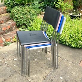 Stacking Chairs - Chrome frame plastic seat & backs