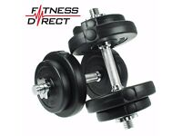 40kg set, Fitness Direct Free Weights Dumbbells Set Gym Biceps Exercise Training Barbell