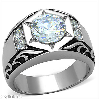 2.76ct Cubic Zirconia Star Silver Stainless Steel Mens Ring ()